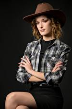 Wallpapers Posing Sit Skirt Formal shirt Hat Glance Cowboy Morgane young woman