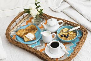 Bilder Müsli Kaffee Brot Milch Pfeifkessel Rosen Frühstück Tasse Tablett