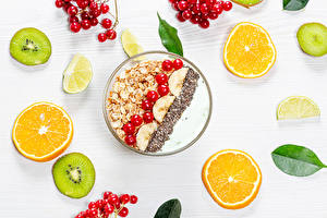 Pictures Muesli Chinese gooseberry Orange fruit Lime Berry Breakfast