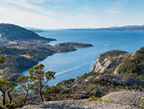 Fotos Norwegen Küste Bucht Skorpo Natur