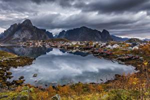 Wallpapers Norway Lofoten Building Mountain Autumn Berth Village Bay Cities Nature