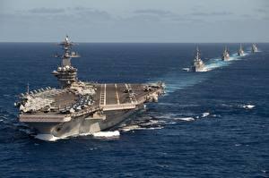Desktop hintergrundbilder Ozean Schiff Flugzeugträger USS Theodore Roosevelt, TR Strike Group, CVN 71 Militär