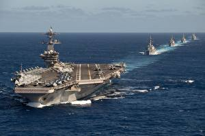 Picture Ocean Ship Aircraft carrier USS Theodore Roosevelt, TR Strike Group, CVN 71