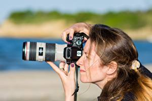 Photo Photographer Side Camera Brown haired Hair Working young woman