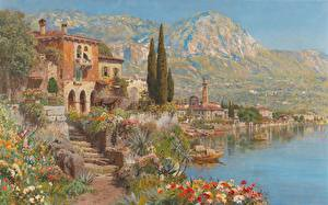 Pictures Pictorial art Building Alois Arnegger, View of Riva on Lake Garda Nature