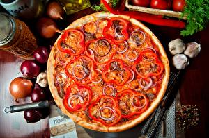Photo Pizza Closeup Bell pepper Onion Food