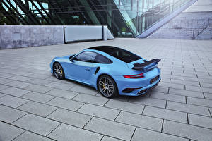 Bilder Porsche Hellblau Coupe 911 Turbo TechArt