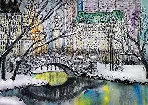 Tapety na pulpit Rzeki Most Domy Rysowane Nowy Jork gapstow bridge, central park