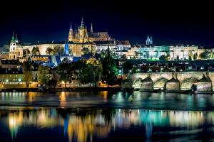 Images River Bridges Building Prague Czech Republic Night time Cities