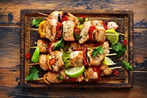 Images Shashlik Vegetables Lime Cutting board Food