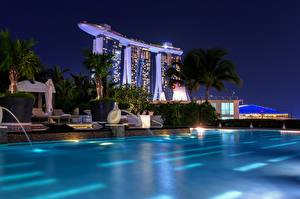 Pictures Singapore Night time Swimming bath Marina Bay Sands