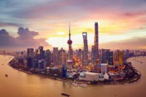 Fotos Wolkenkratzer Haus Küste Abend Shanghai China Turm Huangpu River Städte