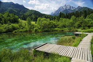 Hintergrundbilder Slowenien See Bootssteg Berg Wald Zelenci Lake