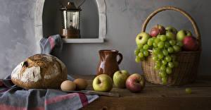 Bilder Stillleben Brot Äpfel Weintraube Weidenkorb Kanne Ei das Essen