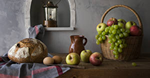 Pictures Still-life Bread Apples Grapes Wicker basket Jug container Eggs Food