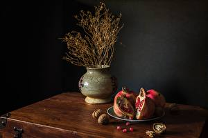 Wallpapers Still-life Nuts Pomegranate Plate Vase Food