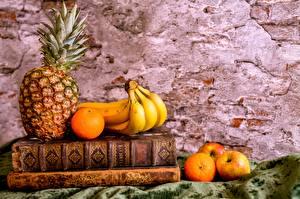 Photo Still-life Pineapples Bananas Orange fruit Apples Books
