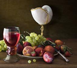 Bilder Stillleben Wein Obst Trauben Pfirsiche Weinglas Lebensmittel