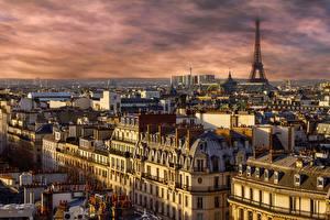 Hintergrundbilder Morgendämmerung und Sonnenuntergang Frankreich Haus Paris Türme Eiffelturm Städte