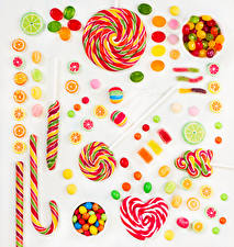 Wallpaper Confectionery Lollipop Dragee Marmalade White background Heart Food
