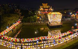 Wallpapers Taiwan Building Pond China Design Night time Street lights Lantern Festival New Taipei Cities
