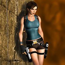 Bilder Tomb Raider Tomb Raider Legend Pistole Lara Croft 3D-Grafik