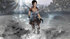 Fotos Tomb Raider Pistole Lara Croft computerspiel Mädchens 3D-Grafik