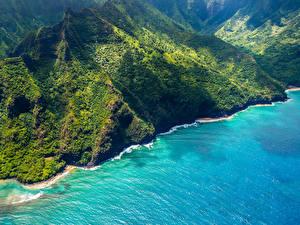Hintergrundbilder Vereinigte Staaten Küste Berg Hawaii Von oben Natur