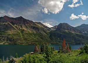 桌面壁纸,,美国,公园,湖泊,山,Glacier National Park St. Mary Lake,大自然