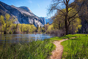 Hintergrundbilder Vereinigte Staaten Park Berg Frühling See Yosemite Bäume Weg Natur