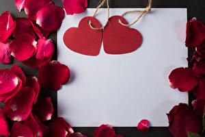 Bilder Valentinstag Vorlage Grußkarte Blatt Papier Herz Blütenblätter Dunkelrote Blüte