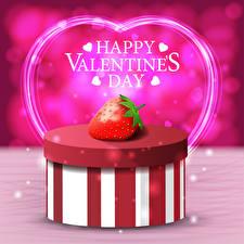 Fotos Valentinstag Vektorgrafik Erdbeeren Englischer Text Geschenke Schachtel Herz
