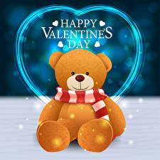 デスクトップの壁紙、、バレンタインデー、ベクタ形式、テディベア、英語、単語、ハート、スカーフ 襟巻き、