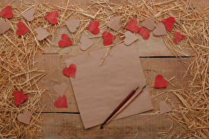 Wallpaper Valentine's Day Wood planks Straw Sheet of paper Heart Template greeting card