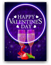 Images Vector Graphics Valentine's Day Sparkling wine Strawberry English Lettering Stemware 2 Heart