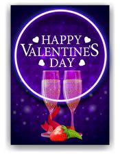 Bilder Vektorgrafik Valentinstag Schaumwein Erdbeeren Englischer Text Weinglas 2 Herz