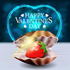 Bilder Vektorgrafik Valentinstag Muscheln Erdbeeren Englischer Text Herz