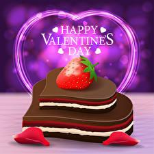 Fotos Vektorgrafik Valentinstag Erdbeeren Englischer Text Geschenke Herz