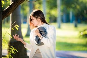 Fotos Armbanduhr Asiatisches Unscharfer Hintergrund Posiert Hand Braune Haare junge frau