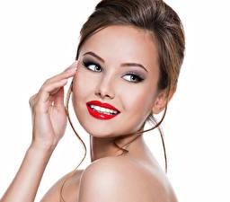 Fotos Weißer hintergrund Braune Haare Gesicht Rote Lippen Hand Starren Mädchens