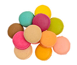 Photo White background French macarons Multicolor Food