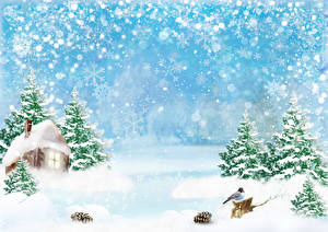 Picture Winter Houses Bird Snow Snowflakes Spruce Pine cone Template greeting card Nature