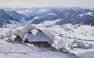 Hintergrundbilder Winter Gebäude Gemälde Landschaftsfotografie
