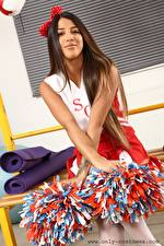 Wallpaper Alexa Only Uniform Cheerleader Brown haired Hands young woman