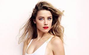 Wallpaper Amber Heard Gray background Sleeveless shirt Hair Glance Celebrities Girls