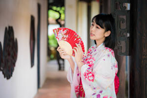 Фото Азиаты Размытый фон Кимоно Руки Веер Брюнетка молодая женщина