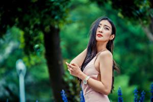 Tapety na pulpit Azjatycka Rozmazane tło Pozować Sukienka Ręce Brunetka Dziewczyny