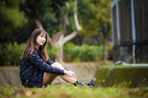 Tapety na pulpit Azjatycka Rozmazane tło Siedzą Nogi W kurtce Brązowowłosa dziewczyna dziewczyna