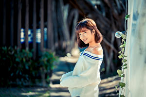 Fotos Asiaten Unscharfer Hintergrund Lächeln Braune Haare Starren Sweatshirt