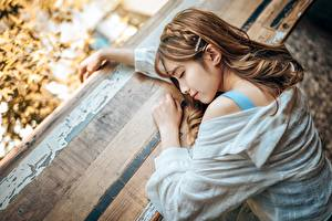 Images Asiatic Brown haired Sleeping Hairstyle female
